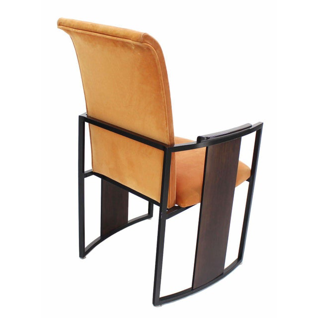 Metal Set of Six Mid-Century Modern Metal and Rosewood Frame Dining Chairs For Sale - Image 7 of 10