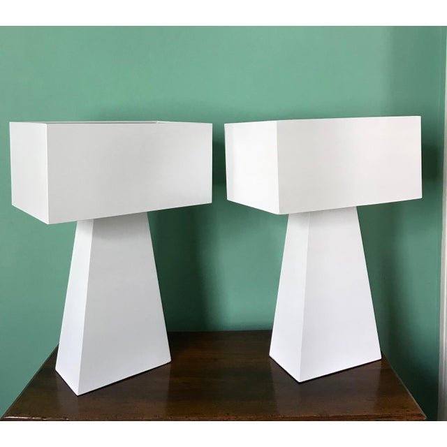 Enamel Pair of White Enamel Table Lamps by George Kovacs For Sale - Image 7 of 7