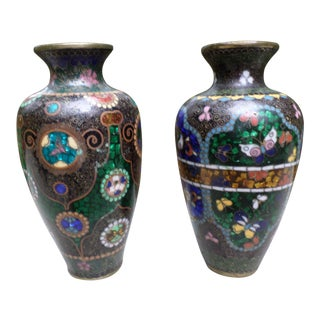 Late 19th Century Asian Cloisonne Miniature Vases - a Pair
