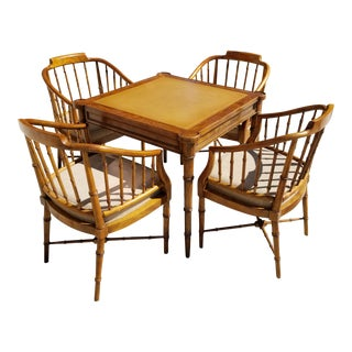 Bamboo Card Table and Chairs For Sale