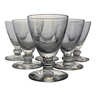 Richard Bishop Wild Game Birds Oyster Cocktail Glasses - Set of 6 For Sale