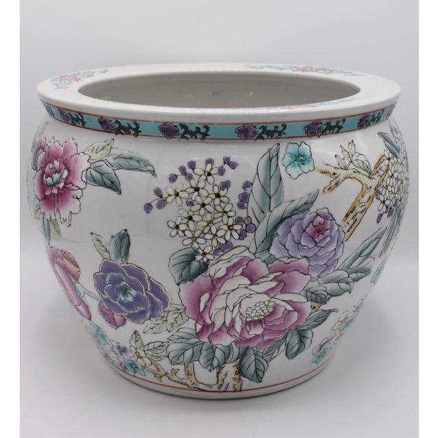 Chinese Large Chinese Porcelain Lotus Flower Koi Fish Bowl Garden Planter For Sale - Image 3 of 10