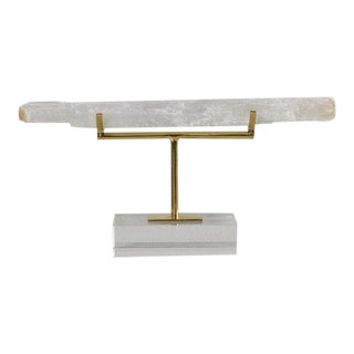 Horizontal Selenite Stick on Brass and Lucite Mount For Sale