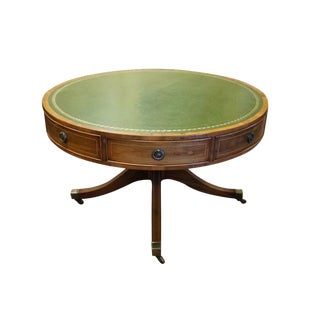 Antique George III Regency Rent Table Leather Top Drum Game Table For Sale