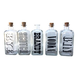 1960s Typographic Glass Liquor Decanters - Set of 5 For Sale