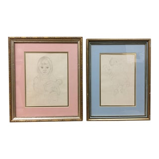 Mabel Alvarez (American 1891-1985) Mid-Century Pencil Drawings - a Pair For Sale