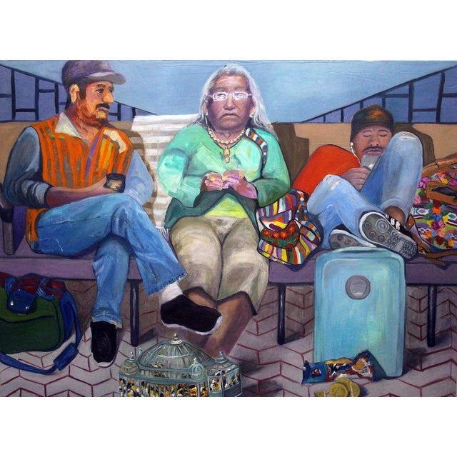 2010s Contemporary Portrait of People Waiting Painting For Sale - Image 5 of 5