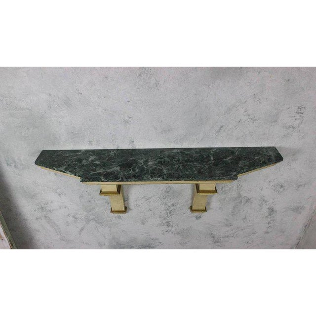 French Painted and Gilt Wall-Mounted Console with Green Marble - Image 2 of 10