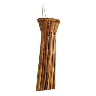 Vintage Wicker and Bamboo Wall Pocket Vase For Sale