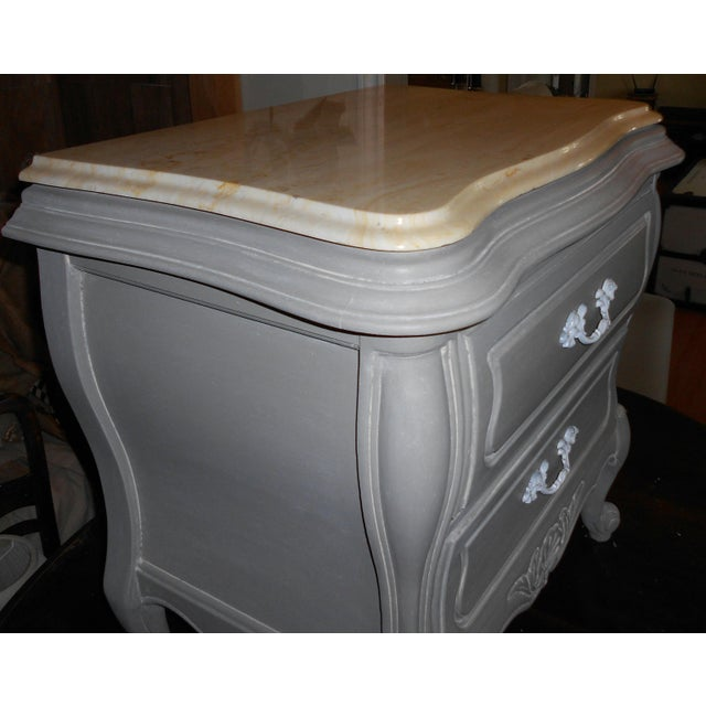 French Bombay Marble Top Nightstands - A Pair - Image 4 of 7