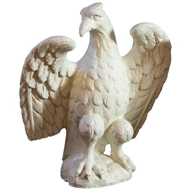 Wonderful pair of classic eagles cast in concrete. Exceedingly fine detail. Retains old paint and most probably used as...