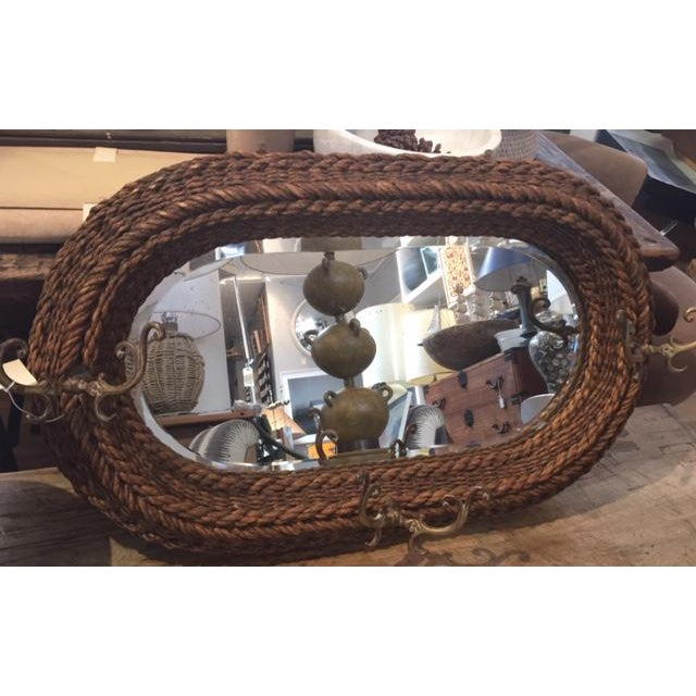 1920s 1920s Rustic Rope and Brass Mirror With Hooks For Sale - Image 5 of 5