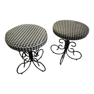 Russell Woodard Wrought Iron Bench Ottoman Stool– a Pair Last Markdown For Sale