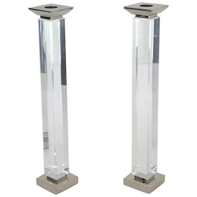 Lucite Pair of Lucite and Polish Nickel Candlestick by Charles Hollis Jones For Sale - Image 7 of 7