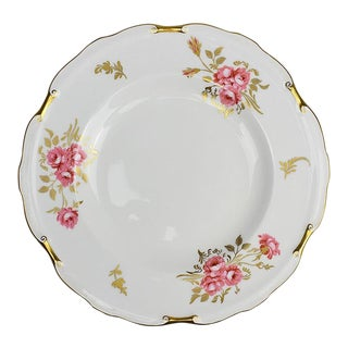 Porcelain Royal Crown Derby Plate in Pinxton Roses Pattern 1940s For Sale
