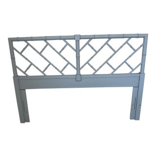 Henry Link Bali Hai Chinese Chippendale Queen Fretwork Headboard For Sale