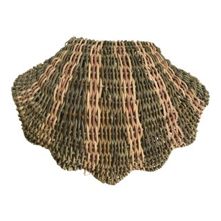 """Vintage Palm Beach 12"""" Large Wicker Scallop Shell Shape Hinged Basket/ Box For Sale"""