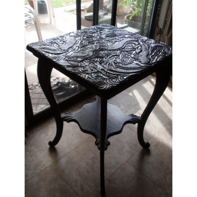 Antique Chinese Carved Table With Dragon Motif - Image 7 of 10
