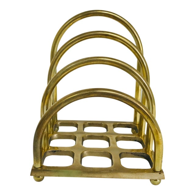 1960s Art Deco Brass File/Letter Holder Desk Accessory For Sale