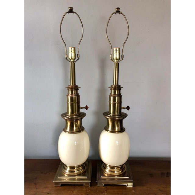 Vintage Stiffel Ostrich Egg Table Lamps- a Pair For Sale In Buffalo - Image 6 of 6