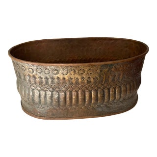 Antique Anglo-Indian Hand Hammered Mixed Metal Cachepot Vessel For Sale