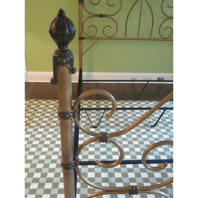 Metal Vintage Victorian Style Metal High Back Queen Size Bed Frame For Sale - Image 7 of 12