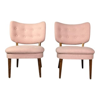 "1940s Swedish ""Emma"" Pink Felted Wool Chairs - a Pair For Sale"