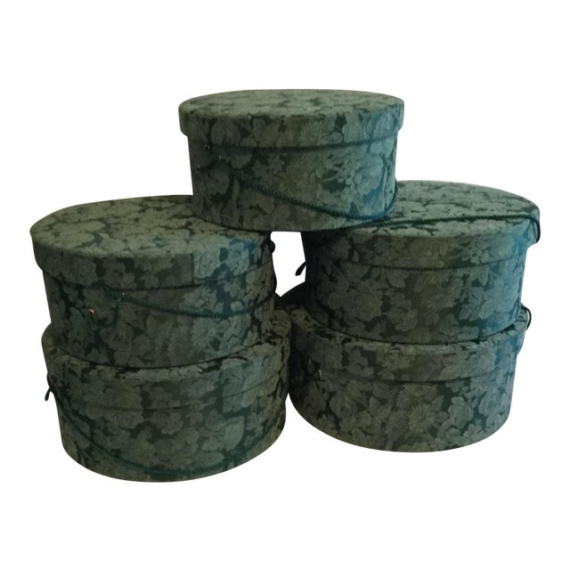 Vintage Fabric Covered Hat Boxes For Sale