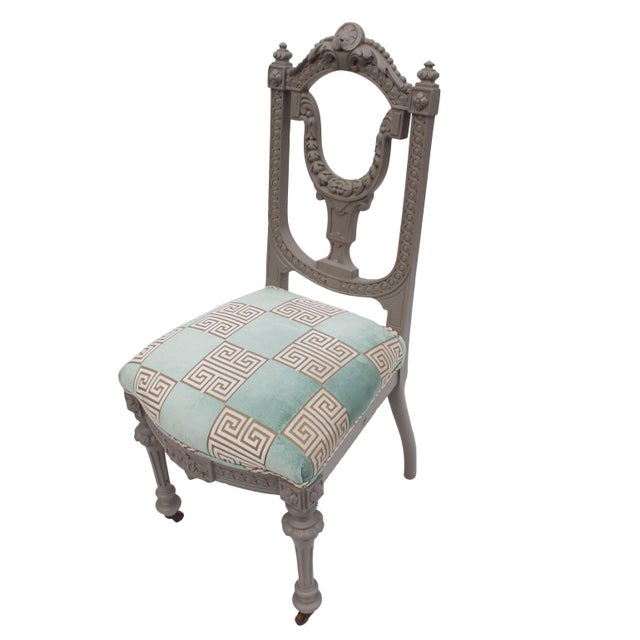 Petite Gray Painted Victorian Desk / Side Chair For Sale - Image 6 of 6