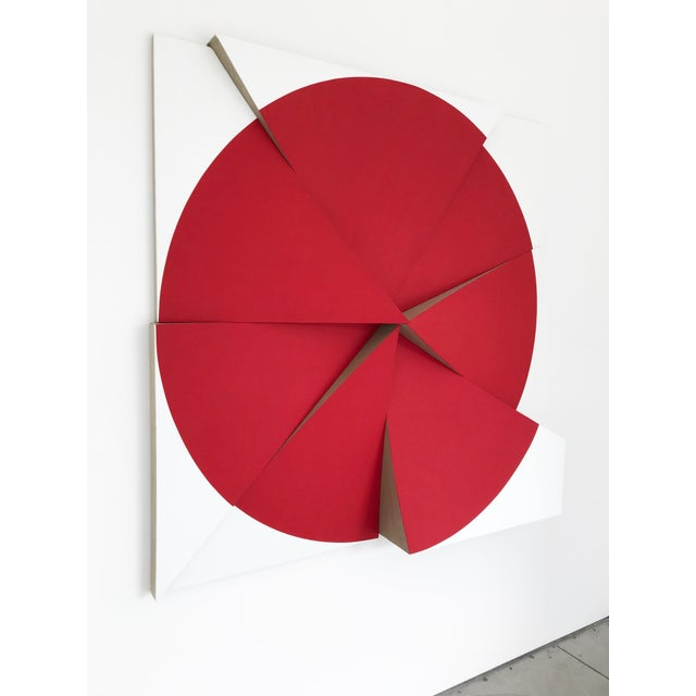 Jan Maarten Voskuil, 'Roundtrip Pointless Permanent Red,' 2018, Acrylics on Linen, 59 X 59 X 7.75 Inches For Sale - Image 4 of 5