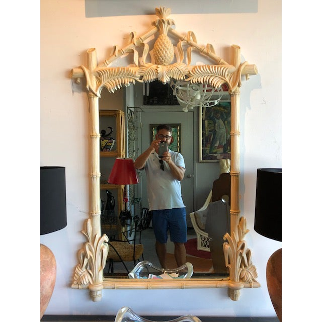 Gampel-Stoll Gampel-Stoll Hollywood Regency Lacquered Pineapple Faux Bamboo Wall Mirror For Sale - Image 4 of 13
