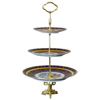 Bohemia Three-Tiered Epergne, Czechoslovakia, circa after 1945 For Sale