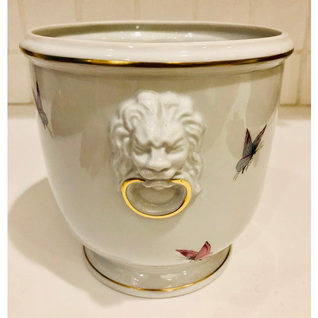 1930s Limoges Butterflies and Lion's Head Cachepot For Sale - Image 13 of 13