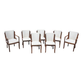 French Art Deco 1940s Jules Leleu Walnut Upholstered Dining Chairs - Set of 7 For Sale