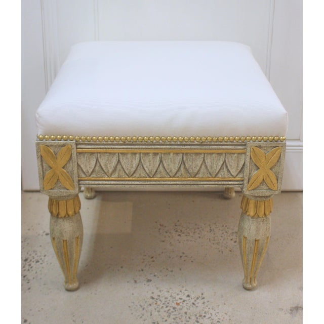 Traditional Swedish Gustavian Leaf Tip Stool For Sale - Image 3 of 3