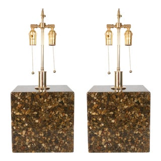 Cubic Resin and Pebble Lamps - a Pair For Sale