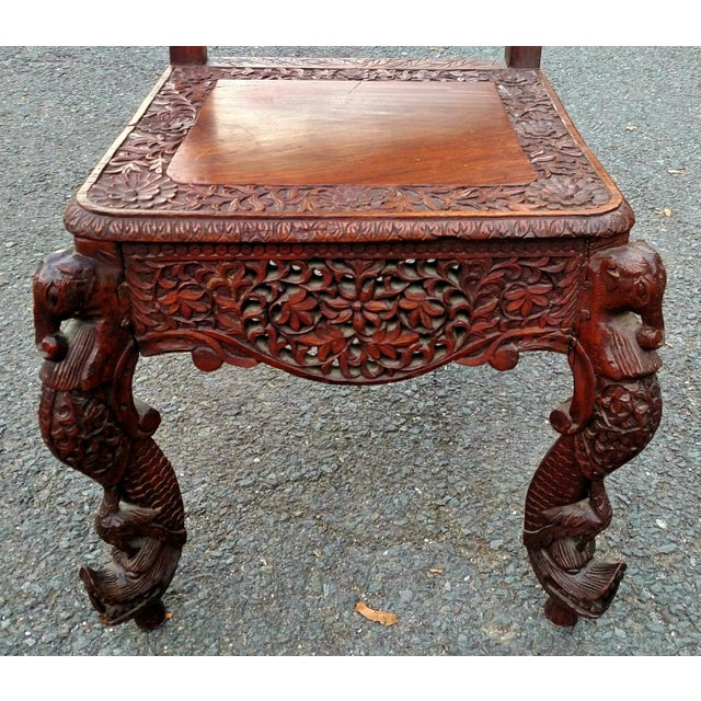 Asian 19th C Figural Carved Wood Burmese Chair - Image 3 of 10