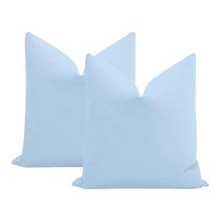 "22"" Powder Blue Performance Linen Pillows - a Pair For Sale"