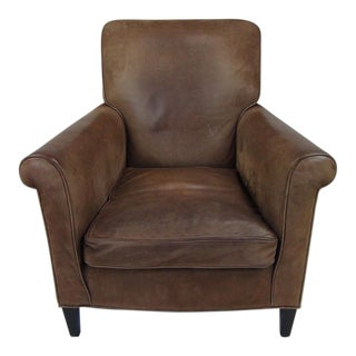 1930's Pair of French Brown Leather Armchair For Sale