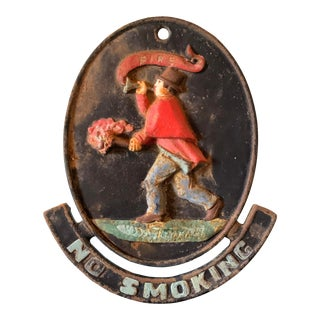 Antique American Fire Sign Cast Iron Hand Painted and For Sale