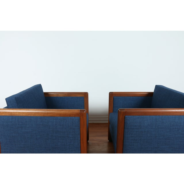 Navy Blue Mid-Century Club Chairs- A Pair - Image 10 of 10