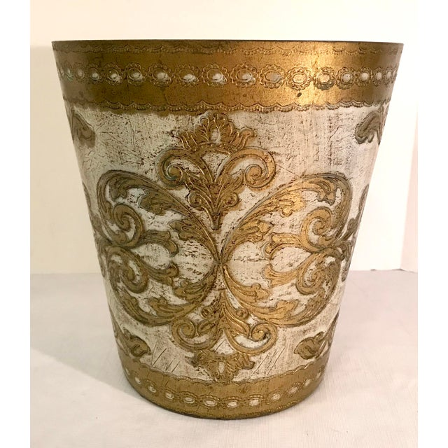 Gold 20th Century Italian Florentine Waste Basket For Sale - Image 8 of 8