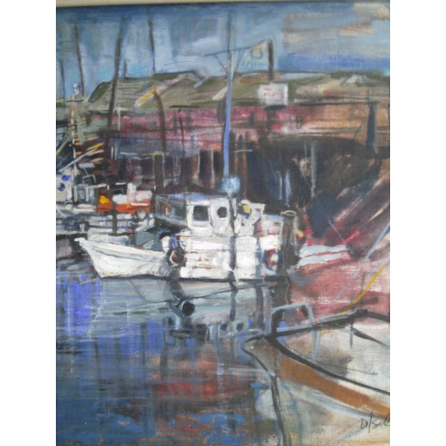 A beautiful harbor seascape by the greatly talented Colorado artist, David Isenberg. This painting is done in oil on board...