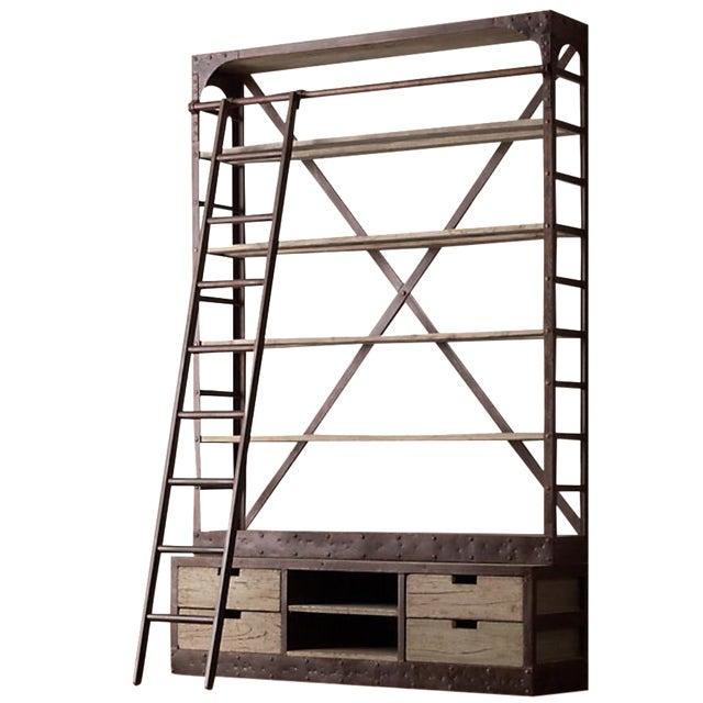 Restoration Hardware Bookcase & Ladder For Sale