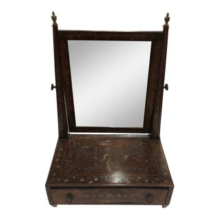 Early 19th Century English Shaving Stand With Original Brass Inlay and Painted Wood For Sale