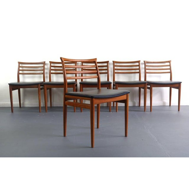 Danish Modern Erling Torvits Dining Chairs in Teak w/ Black Leather Seats, Denmark For Sale In Orlando - Image 6 of 6