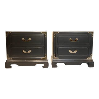 Bassett Chinoisserie Nightstands With Brass Accents - a Pair