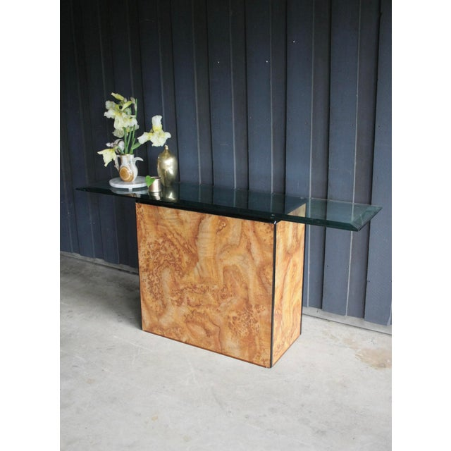 1980s 1980s Contemporary Faux Birdseye Maple Burl Console Table For Sale - Image 5 of 13