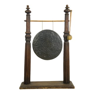 Early 20th Century Antique Chinese Bronze Gong Stand & Mallet - 2 Pieces For Sale
