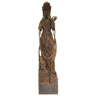 19th Century Chinese Hand Carved Quan Yin Deity For Sale